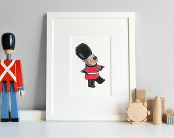 London Beefeater, UNFRAMED Print, The Queen's Guard, Kid's British Art, London Theme Nursery, Children's Bedroom, Iconic Illustration