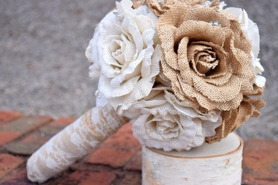 Burlap Bouquet - Shabby Chic Wedding - Rustic Wedding - Rustic Burlap Bouquet - Wedding Burlap Bouquet