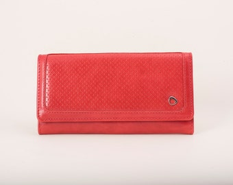 Trifold leather wallet, red leather wallet, gifts for woman, new handmade wallet, perfect present for woman, winter accessories, malakita
