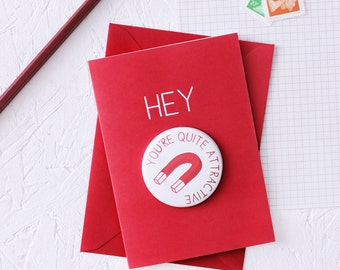 ATTRACTIVE MAGNET CARD Funny Valentines Day Token Gift Red Geek Greeting Fridge Magnet Witty Science Joke Quirky Notice Board Geekery Nerd