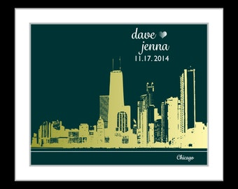 1 Unique Wedding Gifts, Engagement Present, Chicago Skyline, ANY Wedding City Skyline, Personalized, Framed Art Print Illinois Print il Map