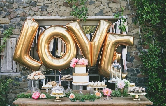 40 Inch Giant Letter Balloon Garlands / Wedding / Birthday Party / Baby Shower / Love / Just Married / Signs / Photos / Gold / Silver