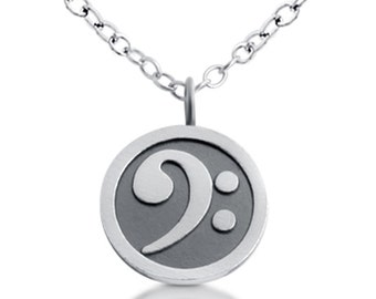 Bass Clef Symbol Disc F Musical Note Music Sound Musician's Written Language Charm Pendant Necklace #925 Sterling Silver #Azaggi N0208S