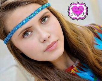 Turquoise Boho Headband - Bohemian Headband - Forehead Headband - Adult Boho Headband - Hippie Headband - Halo Headband - Sequin Headband