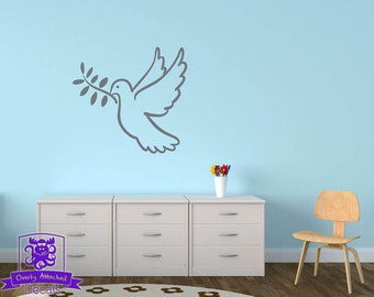Peaceful Dove with Olive Branch Wall Decal Decor