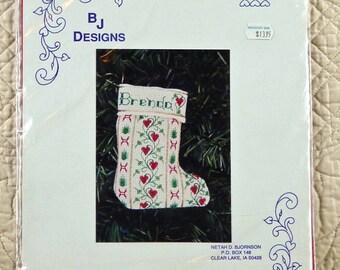 Stocking Ornament, Counted Cross Stitch Kit, Brenda, Scandinavian Design, BJ Designs 1001, 3 x 4