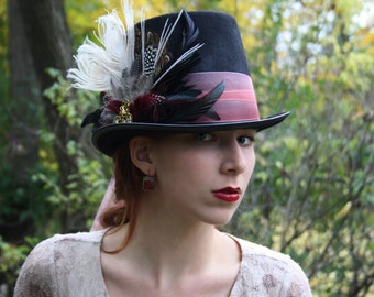 mad hatter top hat alice in wonderland top hat steampunk top hat marsala mardi gras hat neo victorian top hat neo gothic top hat  RED QUEEN