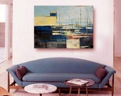 """FREE SHIPPING Original oil painting, large """"Port"""". Authentic, oil painting on cotton canvas. colorful,city, size 39.37/27.5(100/70cm)"""