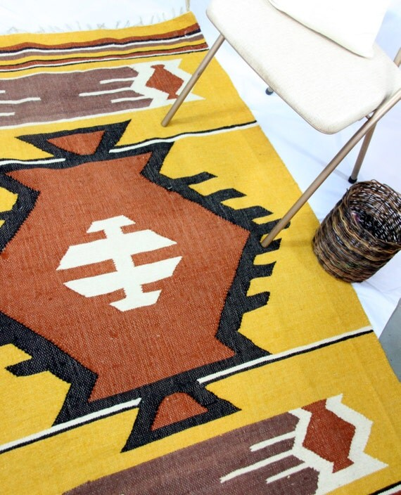 Wool Rugs Made In India: Tribal Pattern Wool Rug Made In India Vintage Southwestern