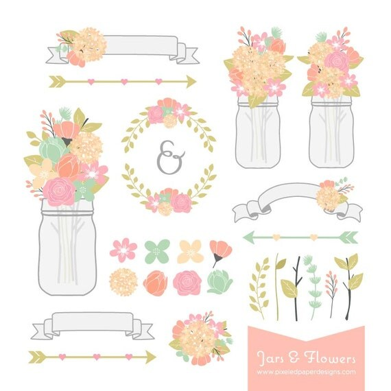 Flower & Mason Jar Digital Clipart - Hydrangea, Rose, Laurels. Graphics for Wedding Invites, Photography, DIY | Commercial License Available