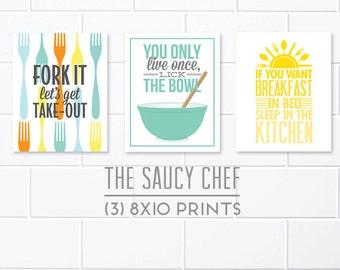Set of 3 Prints, Kitchen Decor, Set of Kitchen Prints, Teal Kitchen, Retro Kitchen Art, The Saucy Chef, Funny Kitchen Art, Art For Kitchen