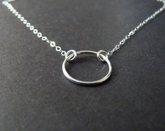 Good karma necklace - sterling silver halo - modern gift ideas for her