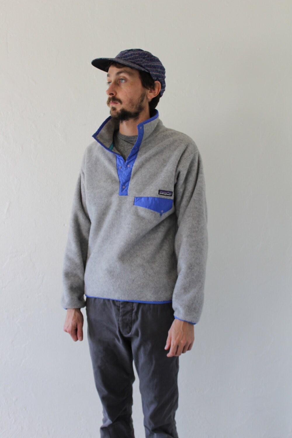 90s Patagonia Snap T Grey Pastel Purple Fleece Pullover Jacket