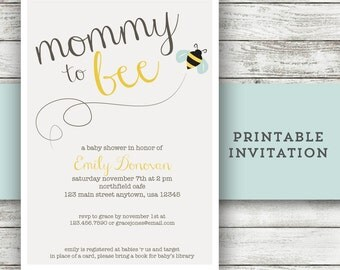 Mommy to Bee Invitation Bee Baby Shower Invite Bumble Bee Inivtation Printable Invitation