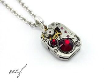 Steampunk Necklace Pendant, Vintage Clockwork Watch Movement & Blood Red Swarovski Crystal. Statement Industrial Neo Victorian Gothic Goth