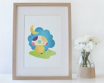 Children's Art Print • My little Sunshine by Celebratink • Wall Decor • Nursery Art  • Mushroom • Colourful • A4 (8.2in x 11.6in)
