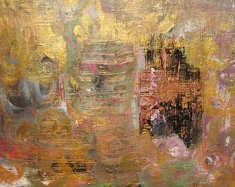 """Abstract Painting Original Acrylic Modern Fine Wall Art, Gold Contemporary Home Decor, 9"""" x 12"""" Art on Paper"""