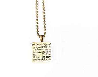 Believe Scrabble Tile Necklace