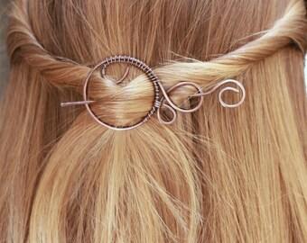 Small hair barrette rustic shawl pin hair clip  celtic hair slide silver hair pin brooch hair accessories scarf pin knitting accessories