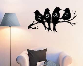 Love Birds on a Branch wall decal 36x20