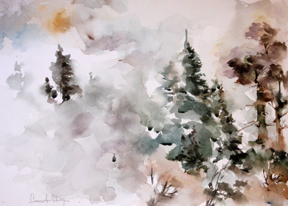 Original Watercolor Painting of Misty Landscape with Pinetrees, Nature Painting Watercolour Art