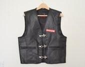 Vintage Black Leather Biker Waistcoat Motorcycle Vest