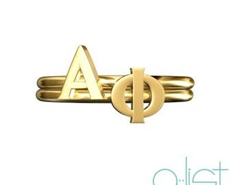 Alpha Phi Sorority Stack Rings / Aphi Rings / Alpha Phi Sorority Rings / Greek Letter Rings / Big Little Gift / APhi Gift / Sorority Jewelry