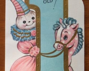 Vintage Happy Birthday One Year Old Card - Vintage First Birthday Boy Girl Greeting Card - 1950 Birthday Card First Birthday Vintage Toys