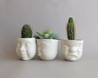 Ceramic planter set Face planter Succulent planter pot Pottery vase Ceramic pot Head planter Porcelain vase Office planter Valentines day