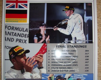Lewis Hamilton 2014 Formula One world champion - souvenir print
