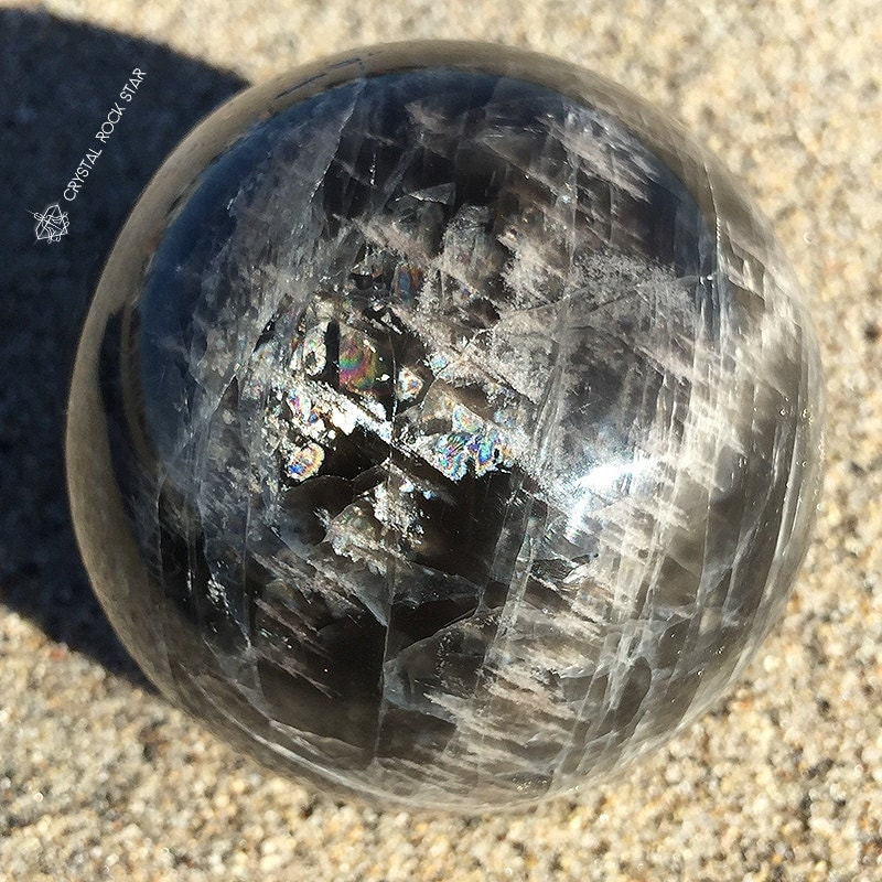 Black Moonstone 57mm Sphere Crystal Ball Intuitive Grounded