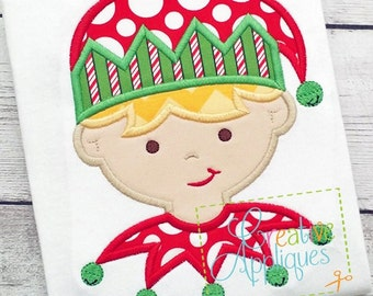 Elf Boy Digital Machine Embroidery Applique Design 4 Sizes, elf applique, applqiue elf, santas helper applqiue