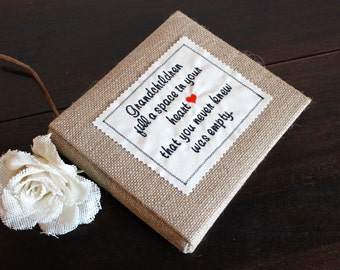 "Baby Brag Book / Photo Album / Scrapbook for Grandparent 6"" x 6"" Burlap - Baby Shower, New Grandmother, Grandfather or Grandparents Gift"
