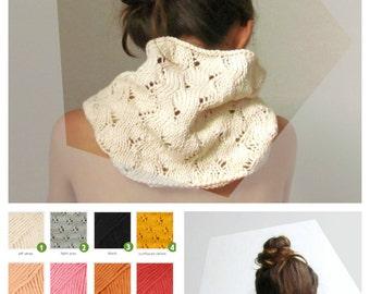 Cream Ivory scarf / Knit cowl / Vegan scarf / Cotton scarf / romantic clothing