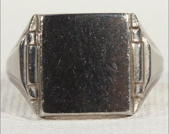 French Silver Art Deco Signet Ring, c. 1920