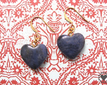 Toledo - gold plated earrings, denim blue colored sodalite stone heart - All donated to animal charity