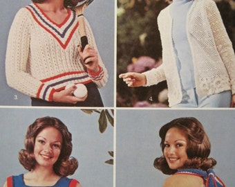 Knit and Crochet Pattern Leaflet - Sweater Favorites - Leisure Arts #21 - Vintage 1973
