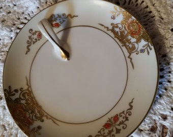 Noritake Handled Serving Plate Handpainted Lemon wedge plate