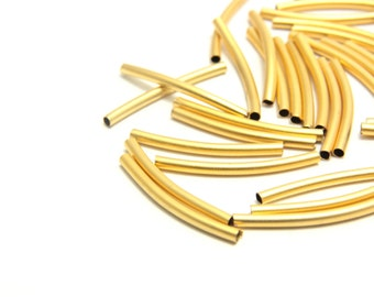 20 pcs Curved Gold Tube, (23mm x 2mm) Gold Curved Tube Spacer, 24k Matte Gold Tube,  Curved Gold Tube, Gold Tube, Gold Tube Findings