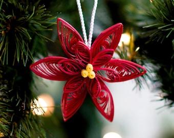 Poinsettia Ornament - Christmas Ornament - Paper Ornament - Quilled Ornament - Paper Quilling