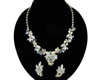 Beautiful Bride-worthy Vintage Beaded Crystal Necklace and Earring Set by Juliana