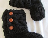 Black Knitted Cozy Slippers - Slipper Socks - Black  Slippers - Womens Slippers - READY TO SHIP in size 7 1/2 - 8 1/2
