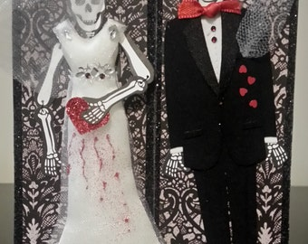 Handcrafted Wedding or Anniversary Card - Skeleton Bride and Groom