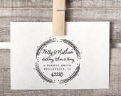 Custom Address Stamp, Return Address Stamp, Wreath Address Stamp, Family Stamp Style No. 47