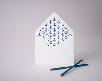 anchors lined envelopes (25 color options) - sets of 10