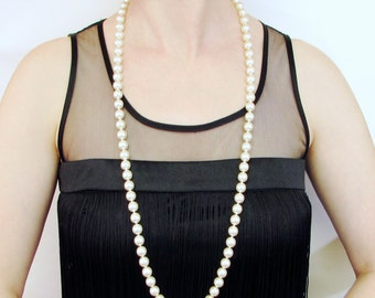 Hand Knotted Long Pearl Necklace, Long Knotted Pearl Necklace, Bridal Necklace, Wedding Necklace