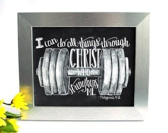 Gym Art, Fitness Motivation, Gym Motivation, Weightlifting, Philippians 4:13, I Can Do All Things, Chalkboard Art, Chalk Art, Bible Verse