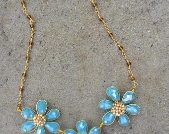 Reversible blue necklace