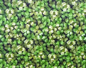 St. Patricks Day Fabric, Shamrock Quilt Fabric, Fabri-Quilt 112-2456 Wild Flowers, Clover Fabric, Green, Cotton