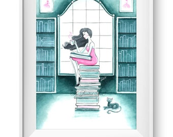 Book art, bookworm art, Fashion illustration print, Fashion art, watercolor, girl art, book lover art, reading gift, bookworm - Book Lover
